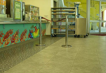 The canteen at the Break Through Youth Village in Shatin, Hong Kong has been installed with luxury vinyl tiles from the Expona Art & Design collection. The design features the popular concrete/mosaic combination of 7103 and 7102.
