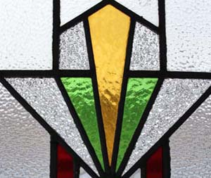 Spectacular english art deco stained glass window ebay for Art deco glass windows