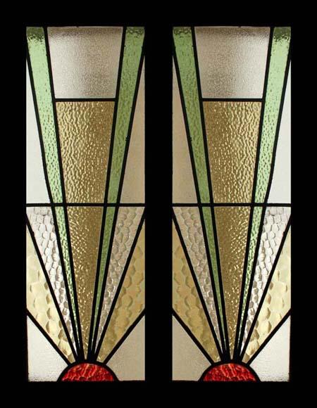 The very best art deco sunburst stained glass sidelight for Art deco glass windows