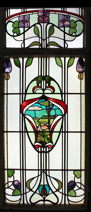 Art nouveau floral scenic english antique stained glass for Art deco glass windows