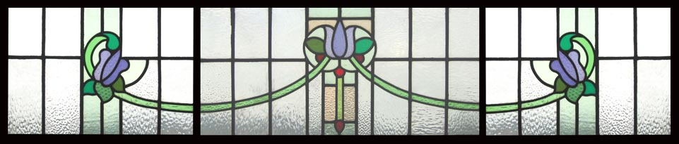 stain glass window. three sections