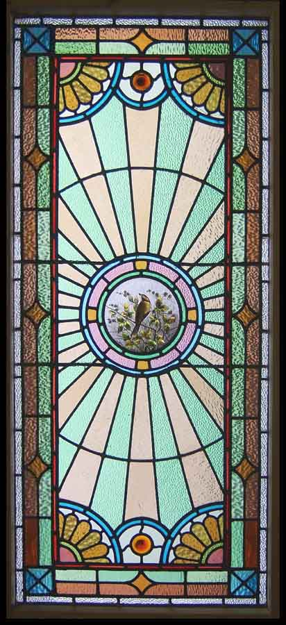 stain glas leaded window. Song birds