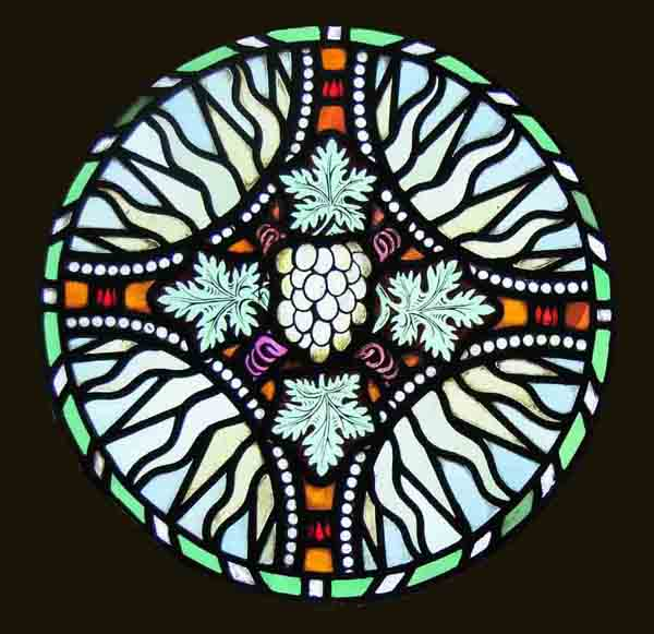 Circular Antique Painted Stained Glass Window FREE
