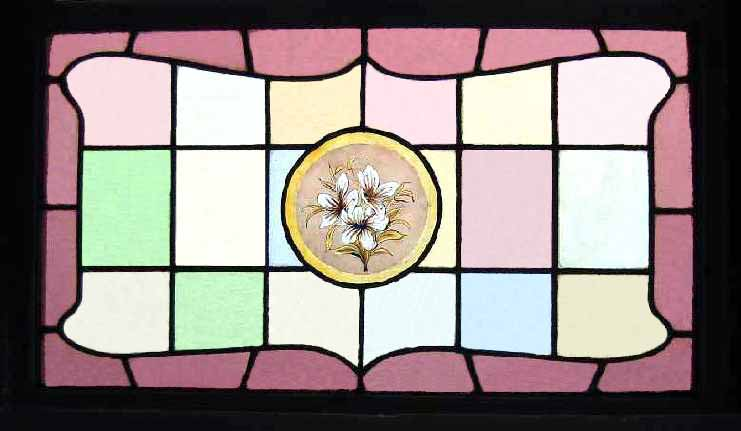 hand painted lily antique window