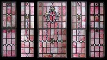 Large Set Pink Ripple Stained Glass Windows