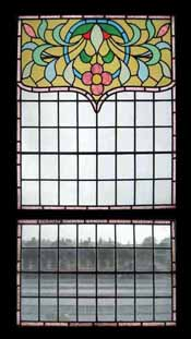 Window Treatments-Art Nouveau Drapes Stained Glass Window