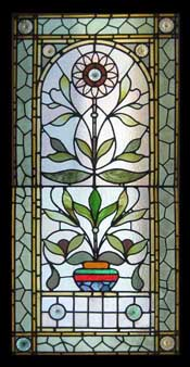 Window Treatments-Victorian Sunflower Stained Glass Window