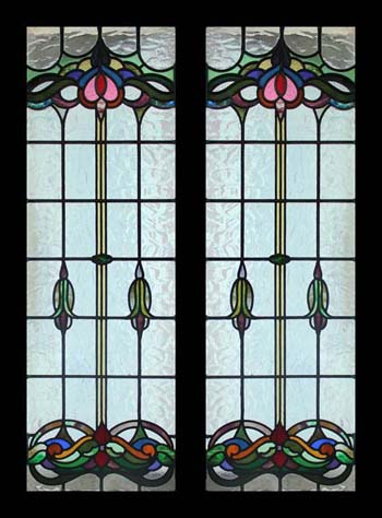Antique nouveau stained glass windows deco leaded lights for Art deco glass windows