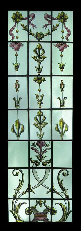 Tall Painted Panel Stained Glass Window