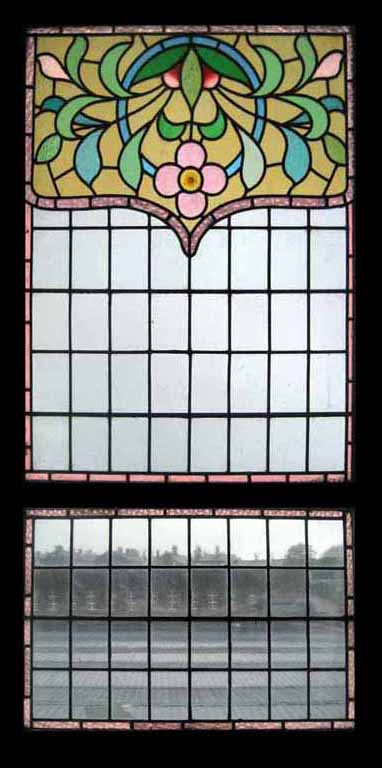 Window Treatments-Nouveau Upper And Lower Stained Glass Window