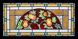 Floral Dome Painted Glass Window